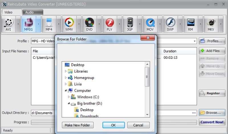 choose output folder video converter