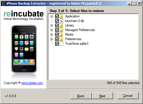 iPhone Backup Extractor: select files to restore