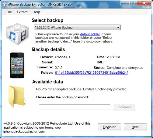 Open Encrypted iTunes Backup