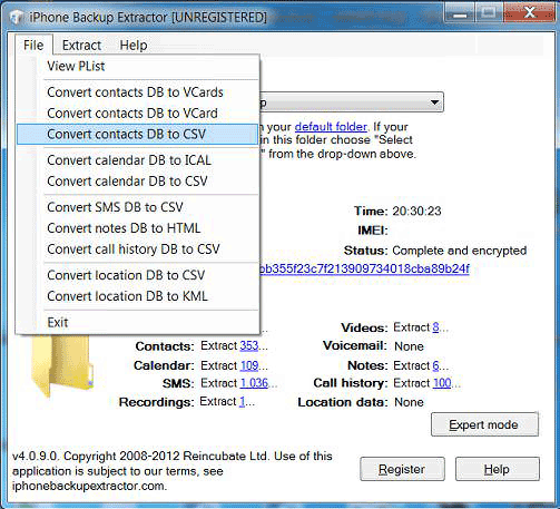 Choose data extraction file type