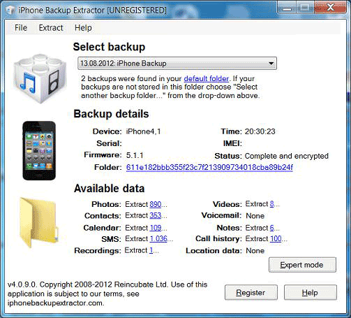 Select iTunes backup