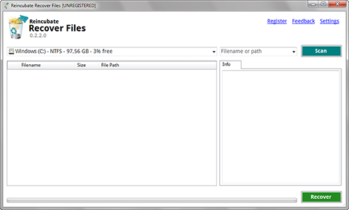 Reincubate Recover Files software interface